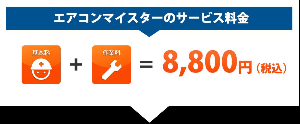 エアコンマイスターのサービス料金:基本料+作業料=8,000円