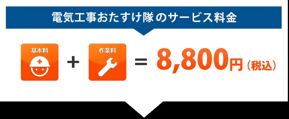 電気工事おたすけ隊のサービス料金:基本料+作業料=8,000円